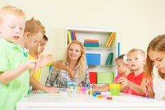 Preschoolers with teacher royalty free stock image