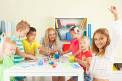 Preschoolers with teacher Royalty Free Stock Photography