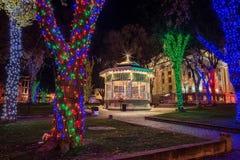 Prescott, πλατεία της πόλης της Αριζόνα με τα φω'τα Χριστουγέννων Στοκ εικόνες με δικαίωμα ελεύθερης χρήσης