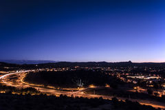 Prescott City Twilight royalty-vrije stock afbeeldingen