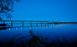 Prescott and Ogdensburg International Bridge at dusk. Stock Photo