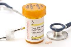 Prescrição de Lisinopril imagem de stock