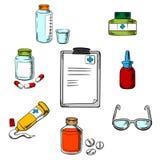 Prescrição e ícones médicos dos objetos Imagens de Stock Royalty Free