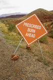 Prescribed burn sign. A road sign warns of a prescribed burn area on public land in the high desert of Utah Royalty Free Stock Photos