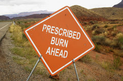 Prescribed burn sign Royalty Free Stock Images