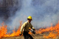 Prescribed Controlled Prairie Burn. A forester sets a prescribed controlled prairie burn, allowing for future growth of the prairie royalty free stock image
