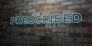 PRESCRIBED - Glowing Neon Sign on stonework wall - 3D rendered royalty free stock illustration Stock Photo