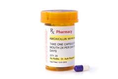 Prescripción de la amoxicilina del facsímil Fotografía de archivo