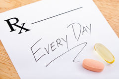 Prescripción de la vitamina Foto de archivo