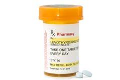 Prescripción de Levothyroxine del facsímil Imágenes de archivo libres de regalías