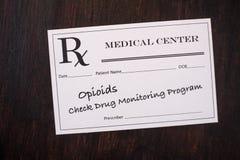 Prescripción del opiáceo - compruebe el programa de supervisión imagen de archivo
