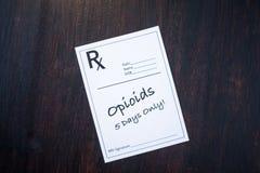Prescripción del opiáceo con la dosificación de 5 días imagen de archivo libre de regalías