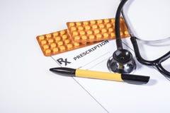 Prescripción para las drogas contra enfermedades imagenes de archivo
