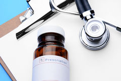 Prescription Bottle Clipboard Stethoscope Royalty Free Stock Photos
