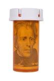 Prescription bottle with Money Stock Photos