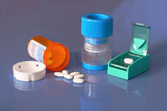 Prescription bottle, pills, pill crusher, splitter Stock Photos