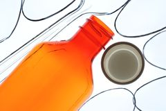 Prescription Bottle and Spoons Stock Photography