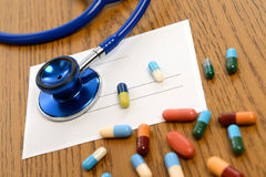 Prescription with colorful pills and stethoscope Stock Image