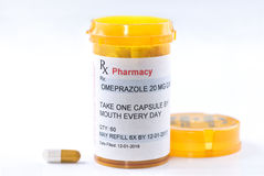 Prescription d'Omeprazole de télécopie images stock
