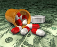 Prescription drugs high costs health care prices m. Prescription drug bottle with pills on a floor of money representing the high costs of health care prices and Stock Photos