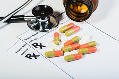 Prescription drugs overvoltage by a doctor. Royalty Free Stock Image