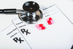 Prescription drugs overvoltage by a doctor. Royalty Free Stock Photos