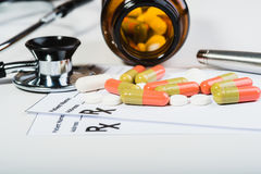 Prescription drugs overvoltage by a doctor. Royalty Free Stock Images