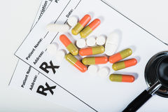 Prescription drugs overvoltage by a doctor. Stock Photos
