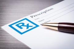Prescription form close-up Stock Images
