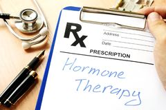 Prescription form with sign hormone therapy. Prescription form with sign hormone therapy on a table Royalty Free Stock Image