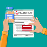 Prescription. Healthcare, medical diagnostics. Hand with prescription and pills. Healthcare, hospital and medical diagnostics concept. vector illustration in Royalty Free Stock Photo