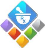 Prescription Icon. An image of a prescirption drug (RX)  symbol Stock Photo
