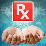 Prescription icon on hand Royalty Free Stock Image