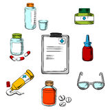 Prescription and medical objects icons Royalty Free Stock Images