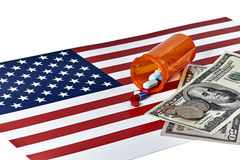 Prescription Medications with American Flag and Money Stock Image
