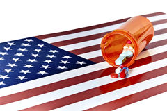 Prescription Medications wtih American Flag Stock Images
