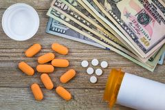 Prescription medicine on dollars for pharmaceutical industry concept. Of high cost for healthcare and medication royalty free stock images
