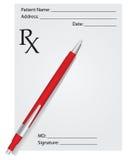 Prescription and pen Royalty Free Stock Photos