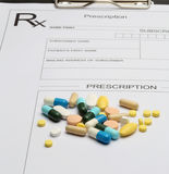Prescription and pill. For illness from doctor Stock Photos