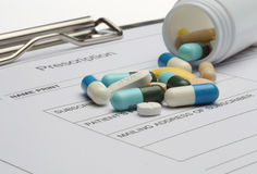 Prescription and pills Stock Image