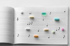 Prescription pills on music paper. Prescription pills on white lined music note paper Stock Image