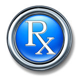 Prescription rx blue buton Stock Photos