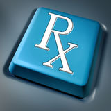 Prescription rx blue computer key. On a keyboard button as a pharmacist symbol and medical data records concept for health care issues representing the medicine