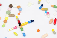 Prescription symbol Rx made of pills and tablets Stock Photography