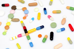 Prescription symbol Rx made of pills and tablets Stock Photos