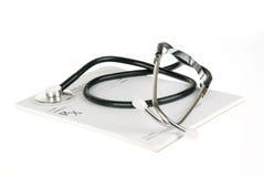 Prescription vide avec le stéthoscope d'isolement image stock