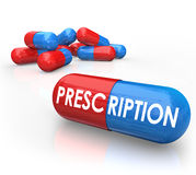 Prescription Word Pills Capsules Prescribed Medicine Treatment Royalty Free Stock Photography