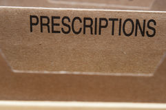 Prescriptions. Section tab in folding file Stock Photography