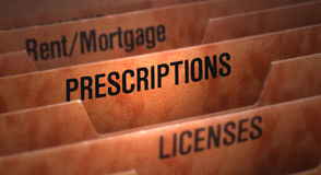 Prescriptions File in Folder Royalty Free Stock Photos