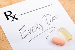 Prescrizione della vitamina Fotografia Stock